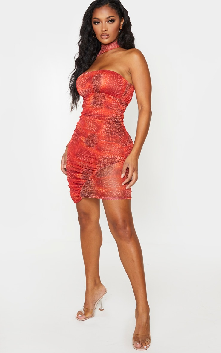 Shape Red Snake Print Mesh High Neck Cut Out Bodycon Dress 4