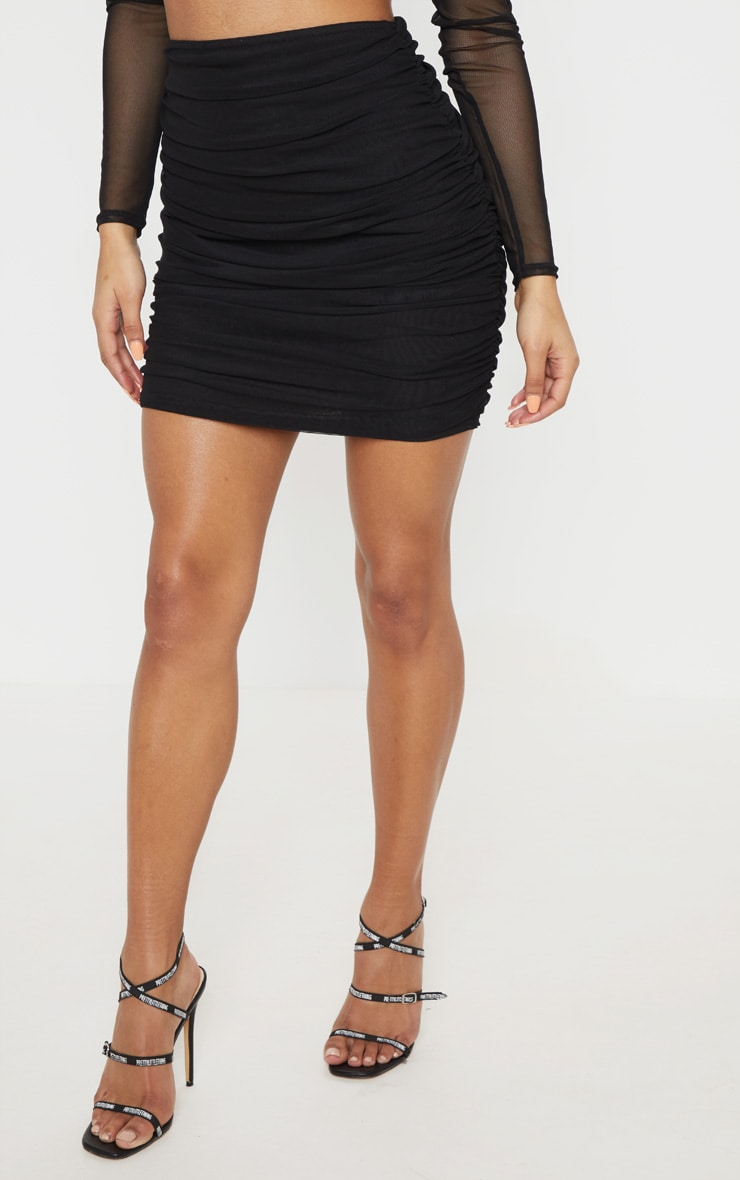 Black Mesh Ruched Skirt 2