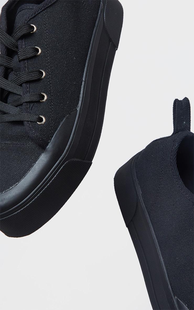 Black Flatform Lace Up Canvas Sneakers 3