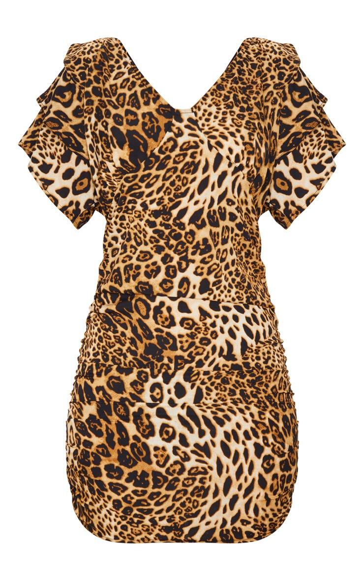Leopard Print Off The Shoulder Ruffle Bodycon Dress 6