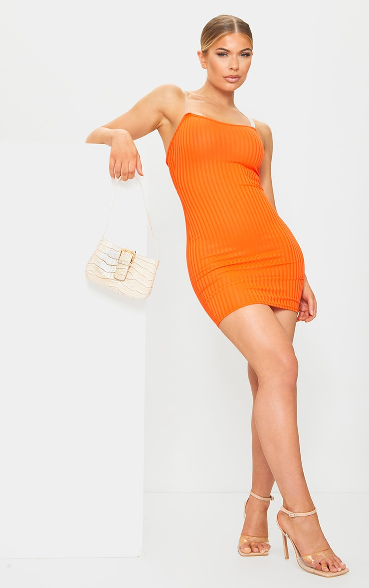 Orange Clear Strap Ribbed Scoop Back Bodycon Dress 3