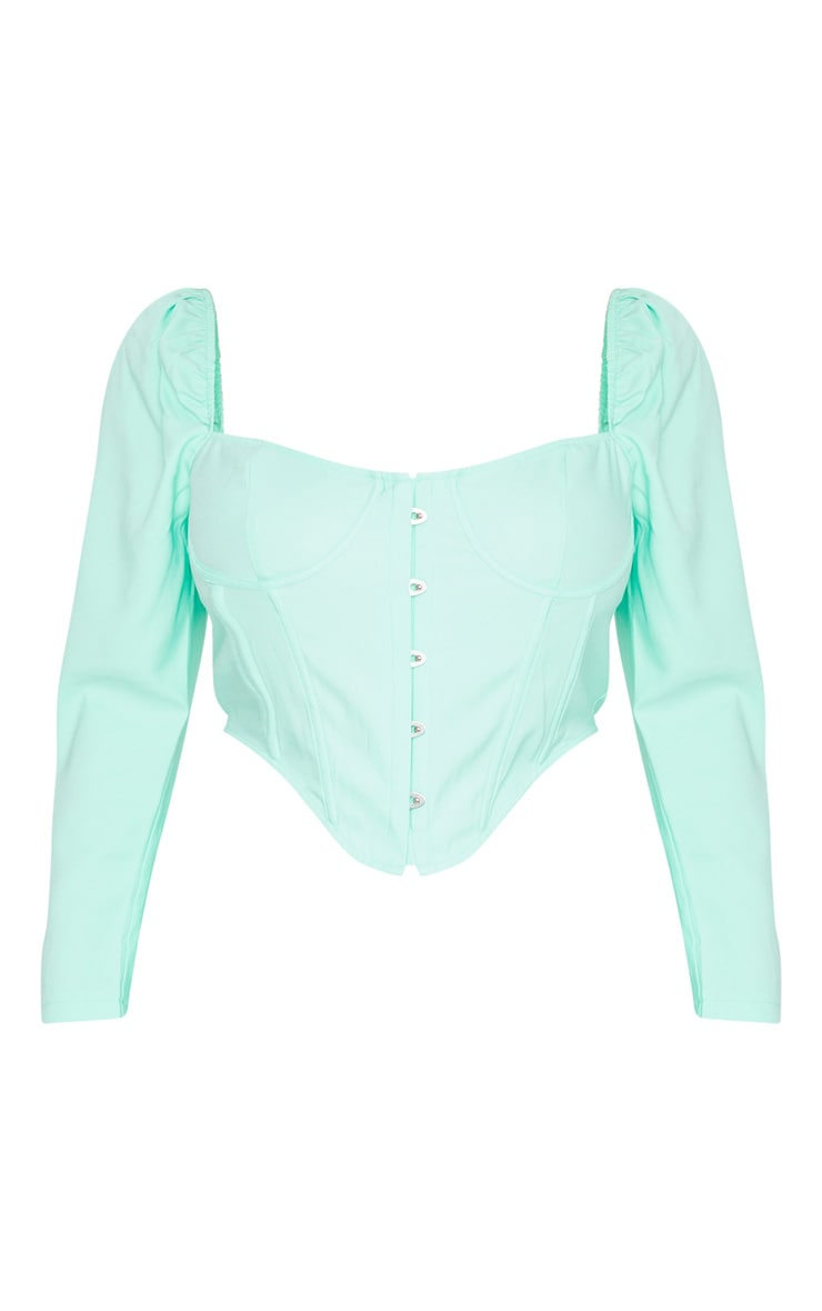 Plus Mint Puff Long Sleeve Bust Cup Corset 5