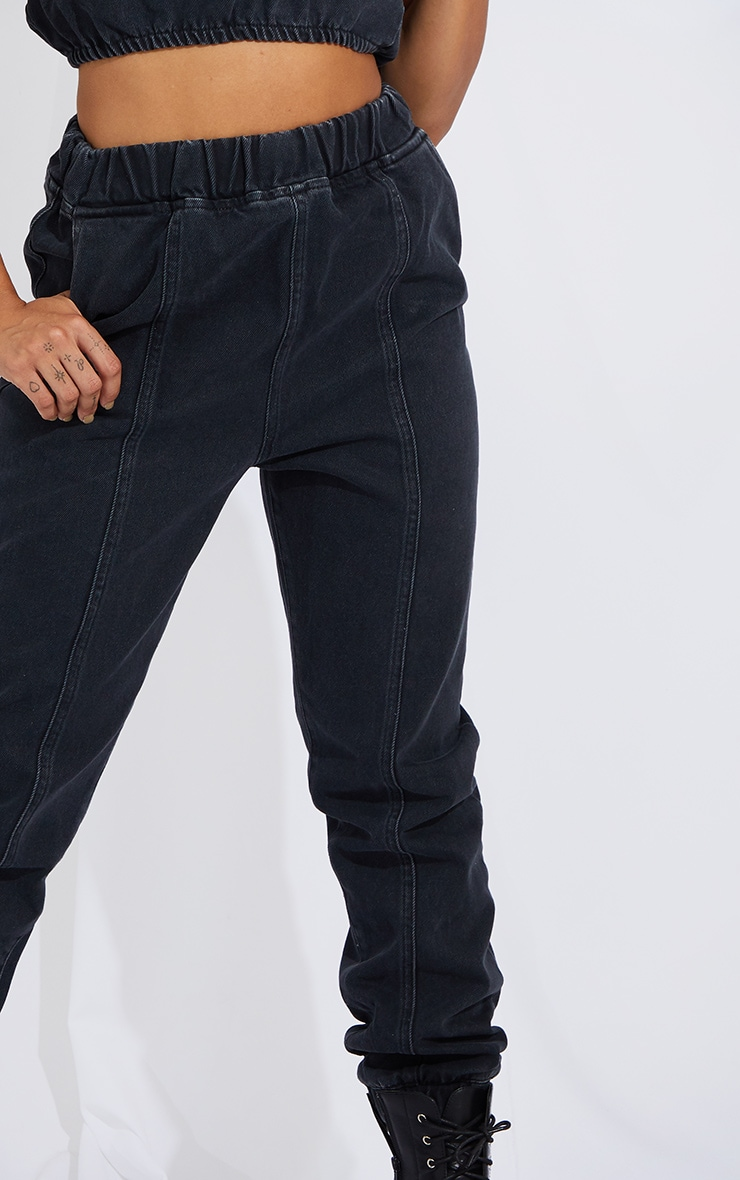 Washed Black Elasticated Waist Jogger Jean 4