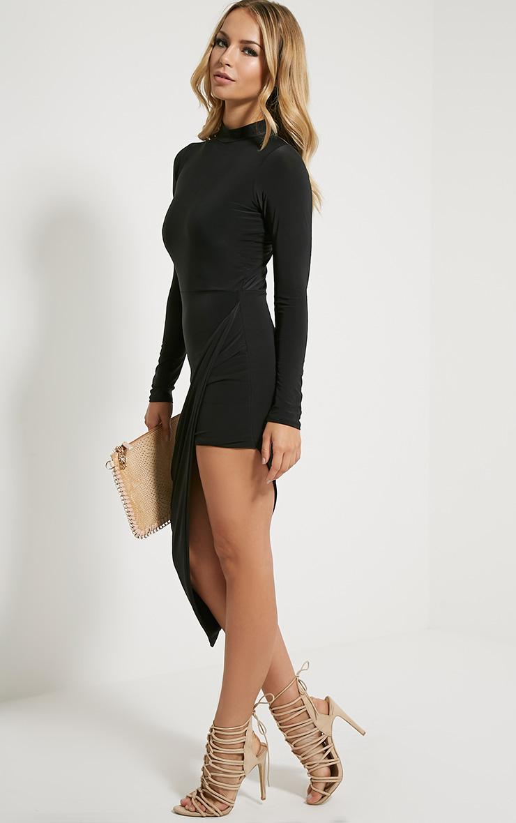 Saffy robe drapée manches longues noire 4