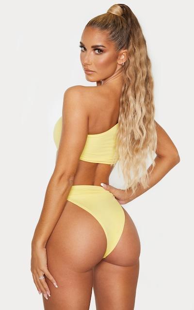 Lemon One Shoulder Sleeve Bikini Top