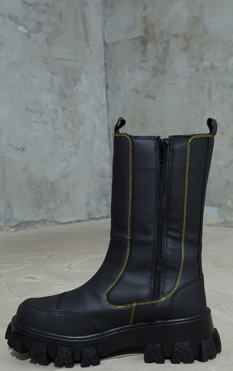 Black Chunky Cleated Sole Calf High Chelsea Boots 4