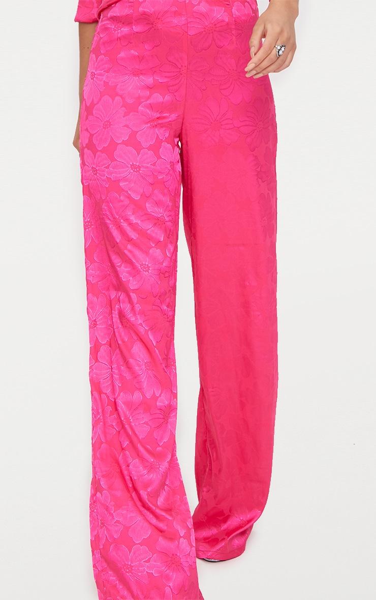 Hot Pink Jacquard Satin Wide Leg Trousers  6