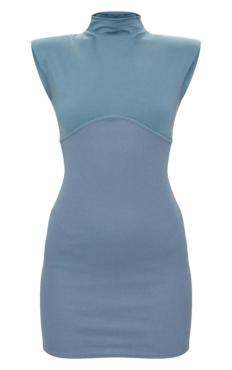 Charcoal Blue Shoulder Pad Underbust Binding Sleeveless Bodycon Dress 5