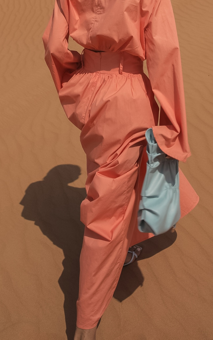 Peach Woven High Waist Detail Maxi Skirt 3