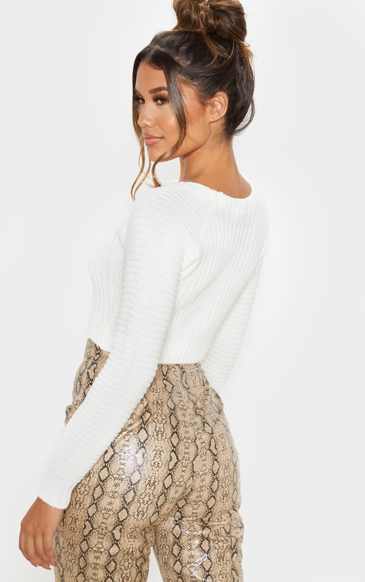White Cropped Rib Knit Jumper 2