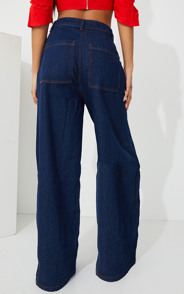 Indigo Wash Wide Leg Jeans 3