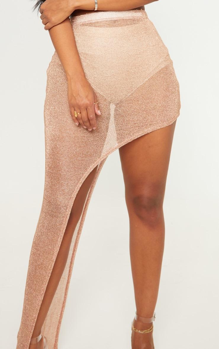 Shape Rose Gold Sheer Knitted Asymmetric Maxi Skirt  4