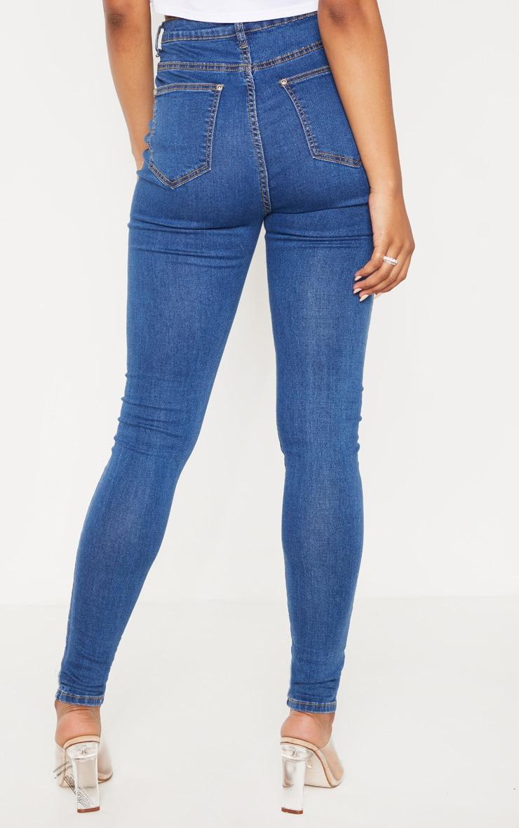 Tall Mid Blue Wash Distressed 5 Pocket Skinny Jean 4