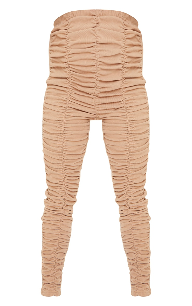 Maternity Stone Ribbed Ruched Over Bump Leggings 5