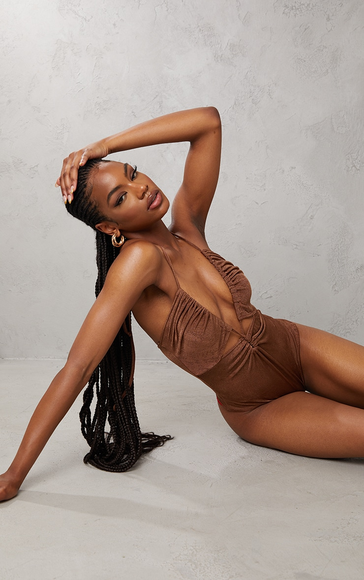 Chocolate Acetate Slinky Ruched Cross Over Halterneck Cut Out Bodysuit 2