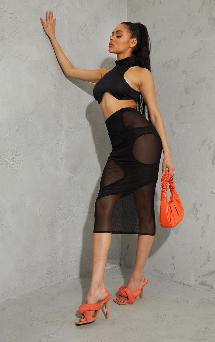 Black Mesh Circle Cut Out Layered Midaxi Skirt 1