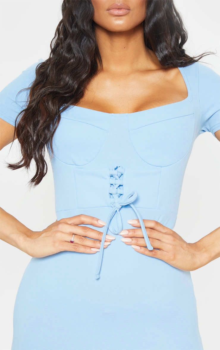 Baby Blue Short Sleeve Cup Detail Lace Up Bodycon Dress 5
