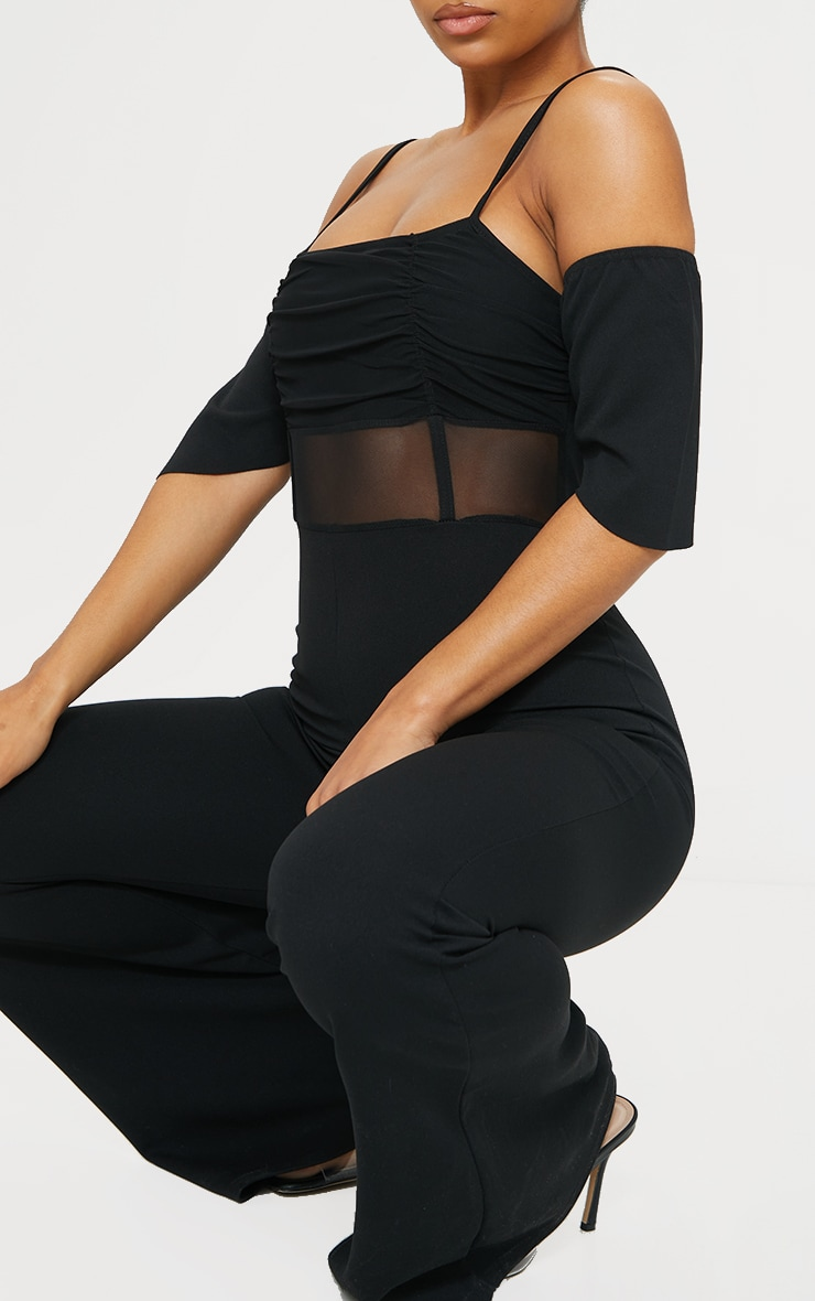 Black Ruched Mesh Binding Detail Off The Shoulder Jumpsuit 4