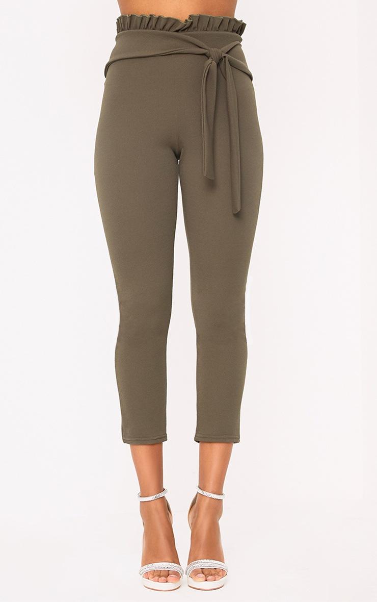 Khaki Paper Bag Skinny Trousers 2