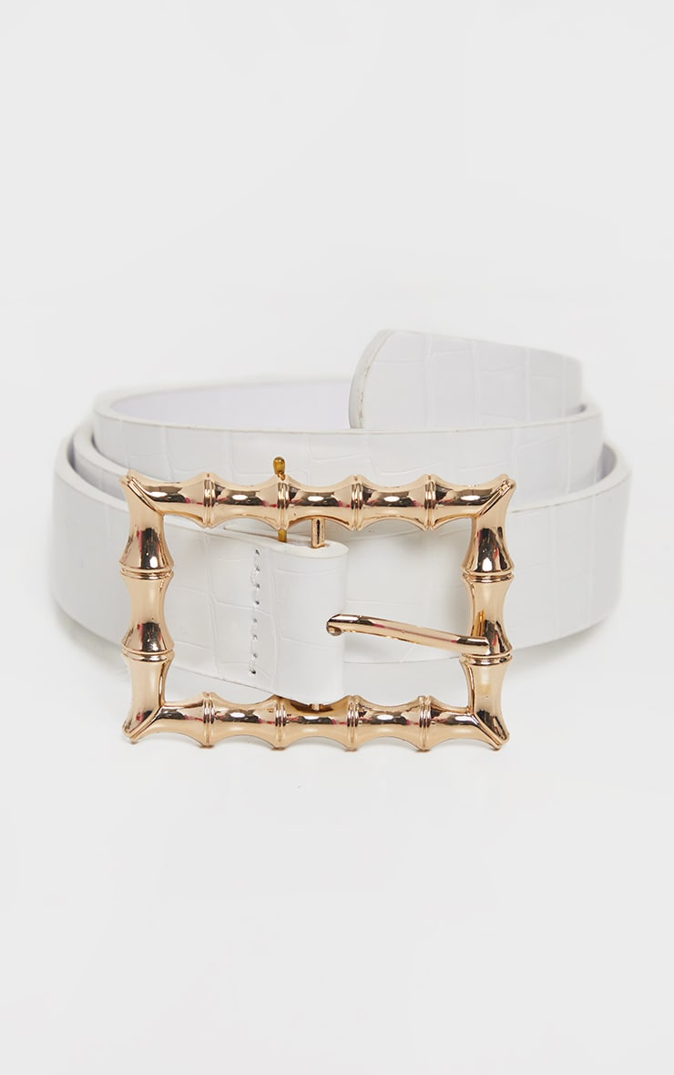 White Square Bamboo Buckle Belt 4
