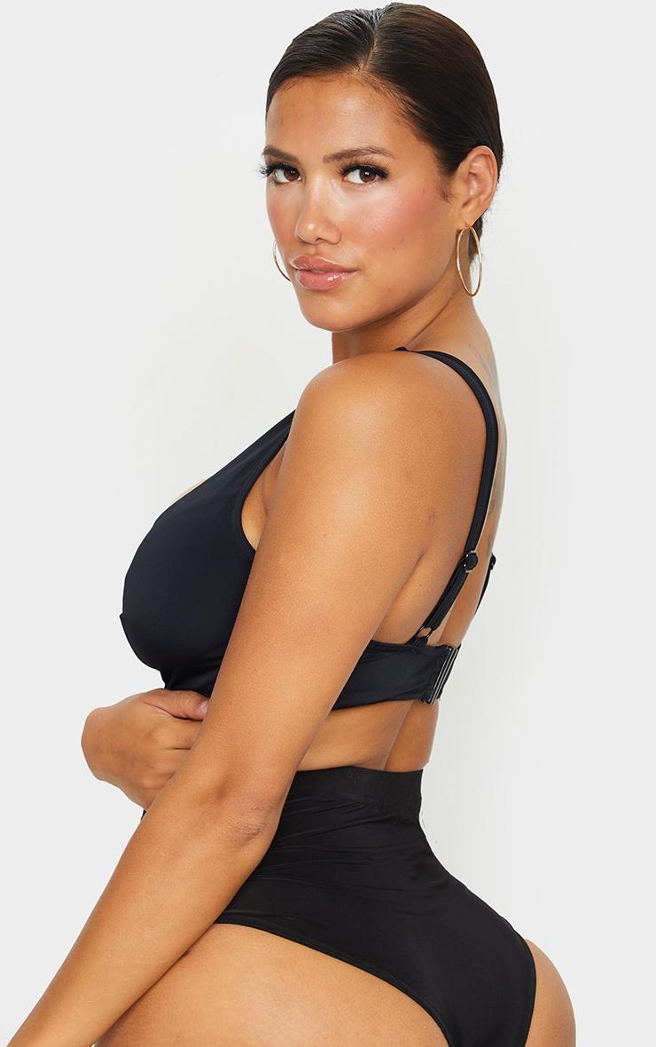 Black Fuller Bust Scoop Neck Bikini Top 2