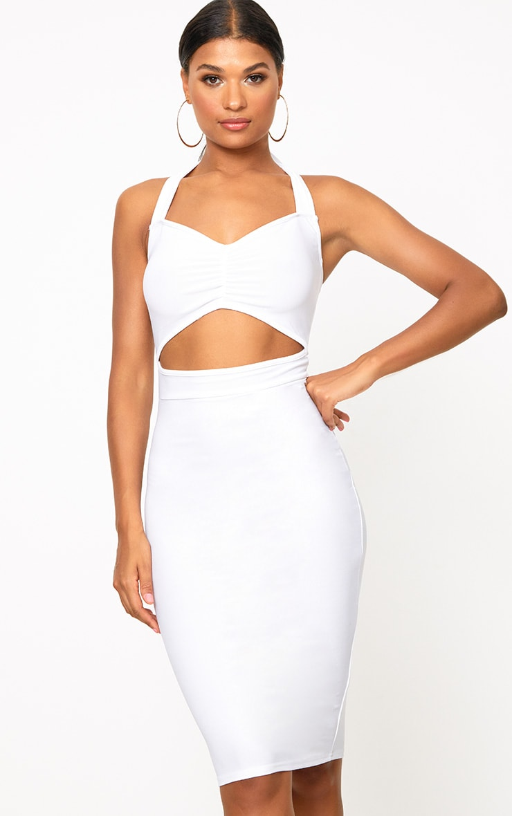 White Halterneck Midi Dress 1