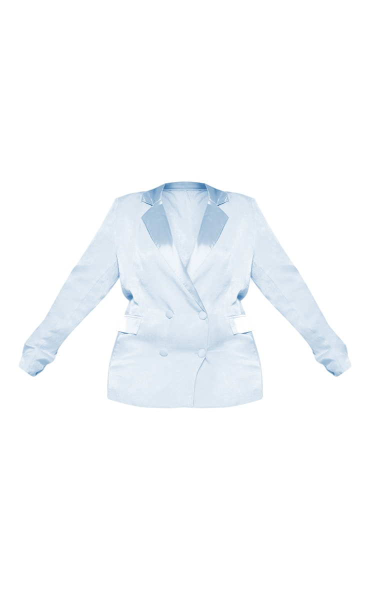 Plus Dusty Blue Longline Satin Mix Blazer 3