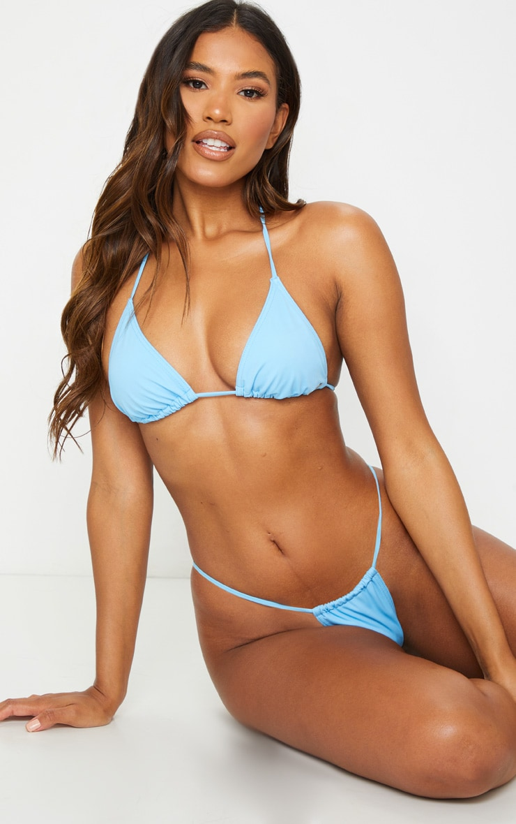 Recycled Blue Mix & Match Mini Triangle Bikini Top 3