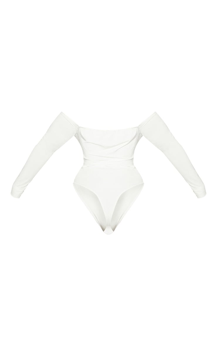 Plus White Slinky Twist Front Bardot Bodysuit 4