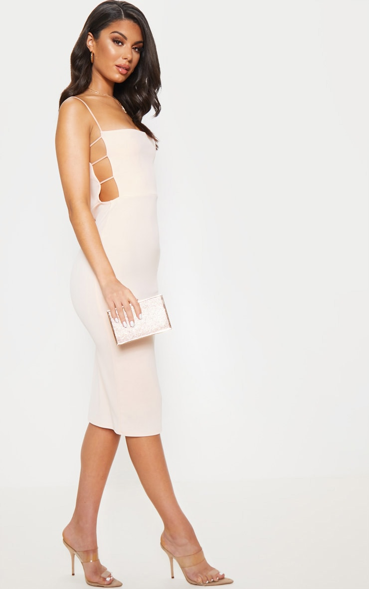 Nude Side Cut Out Detail Midi Dress 1
