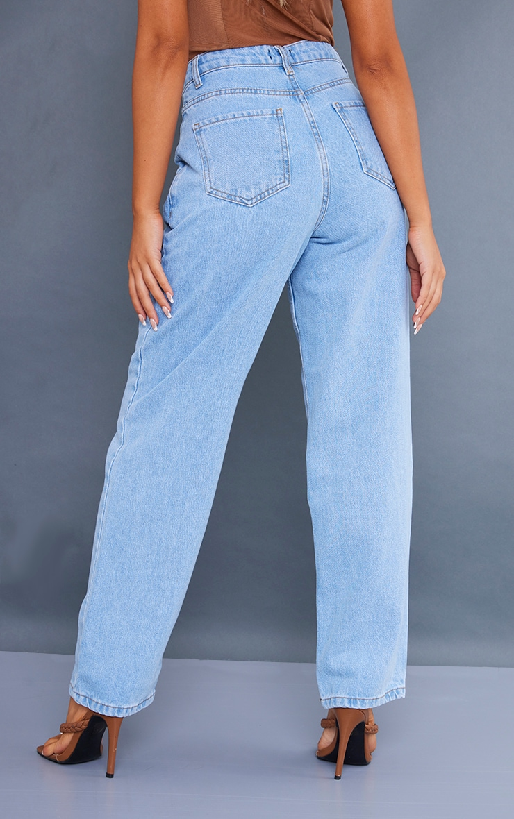 Petite Light Wash Wide Leg Seam Detail Jeans 3