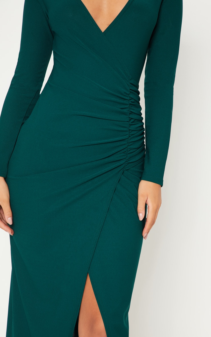 Emerald Green Plunge Ruched Split Leg Maxi Dress 5
