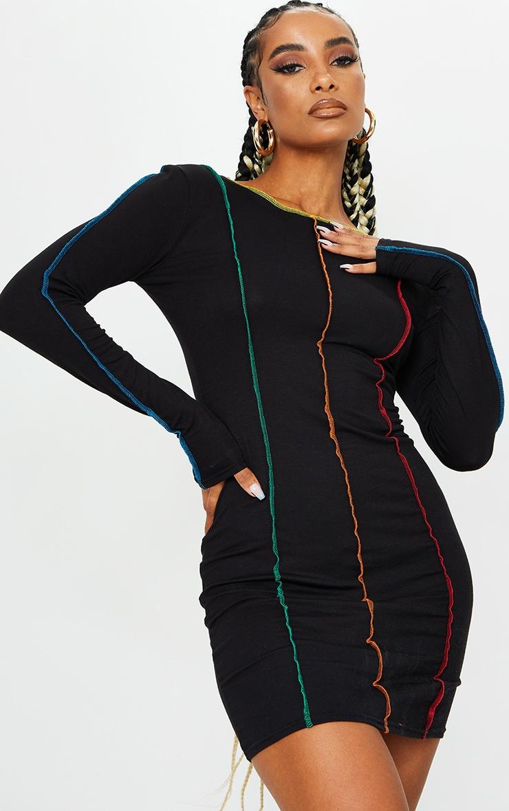 Black Long Sleeve Multi Stitch Detail Bodycon Dress 1