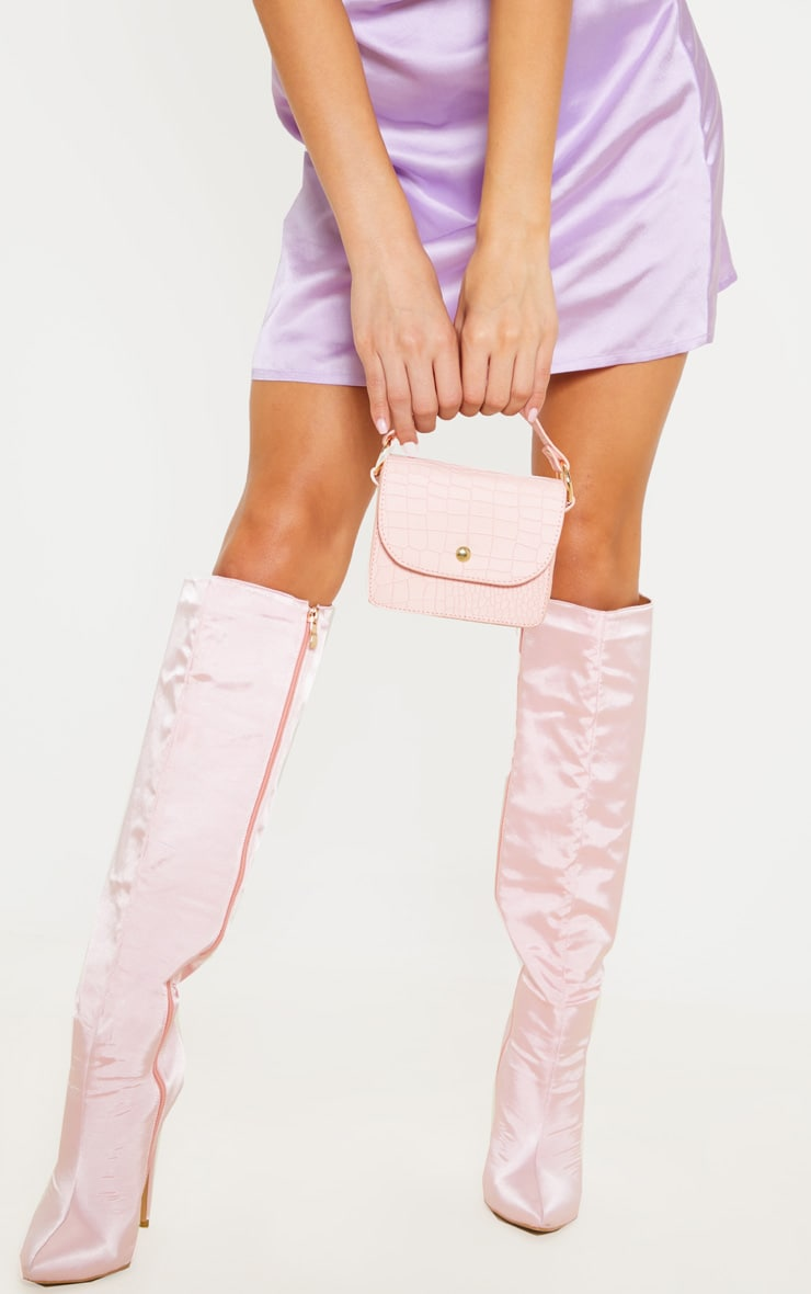 Pale Pink Croc Square Mini Bag 2