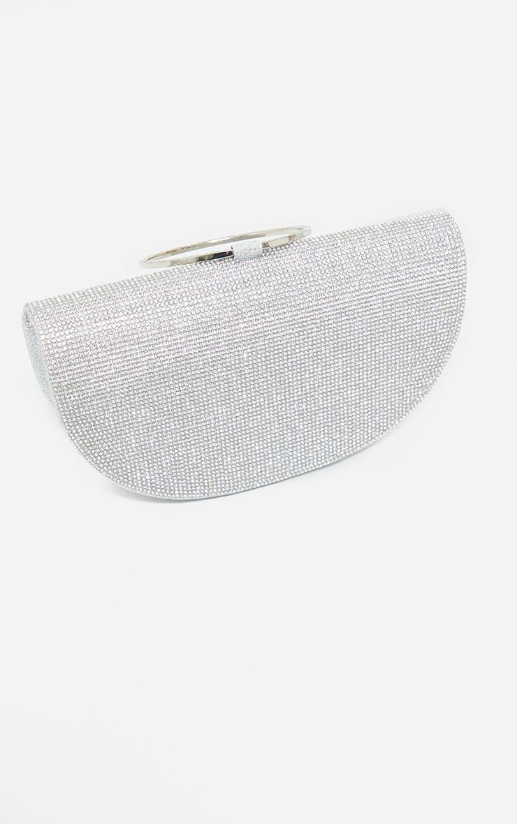 Silver Diamante Semi Circle Clutch 4
