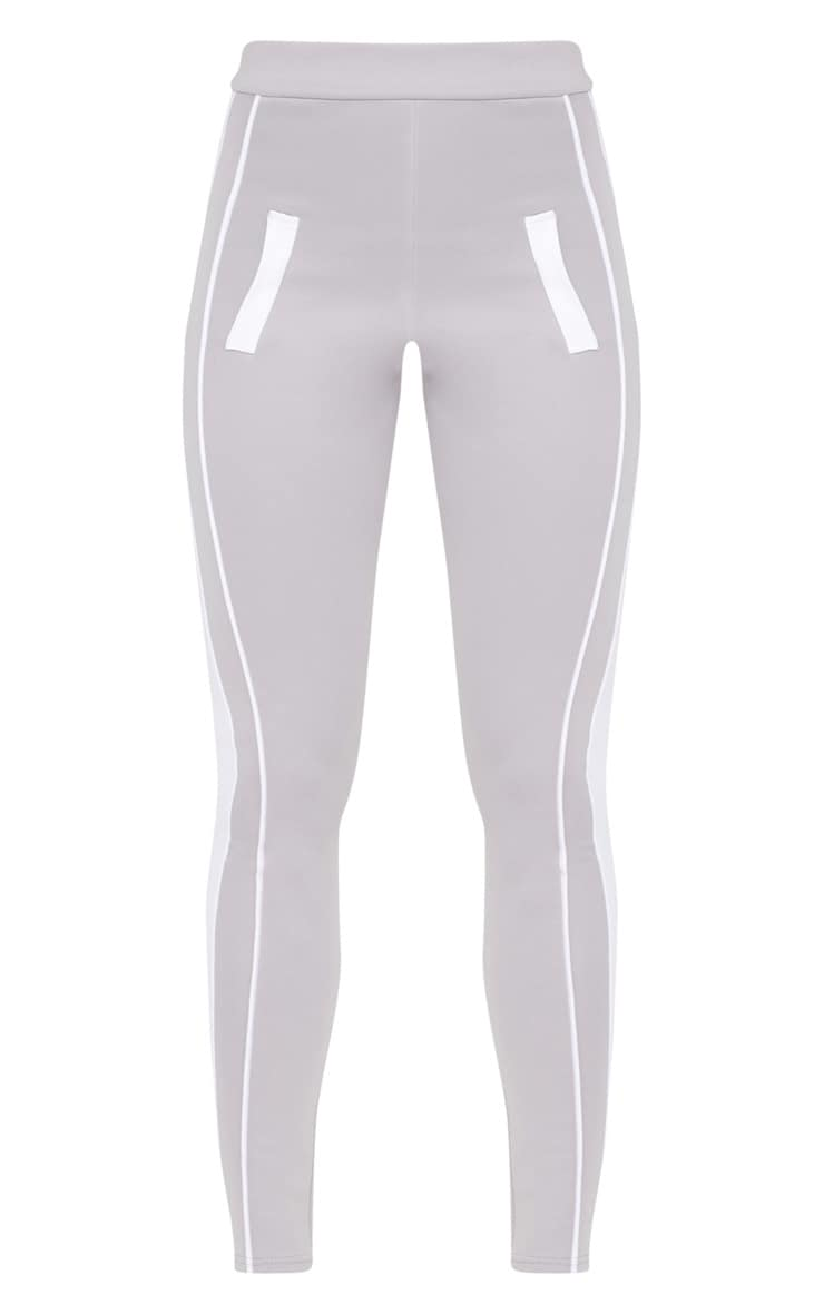 Grey Scuba Contrast Side Stripe Skinny Trouser 3