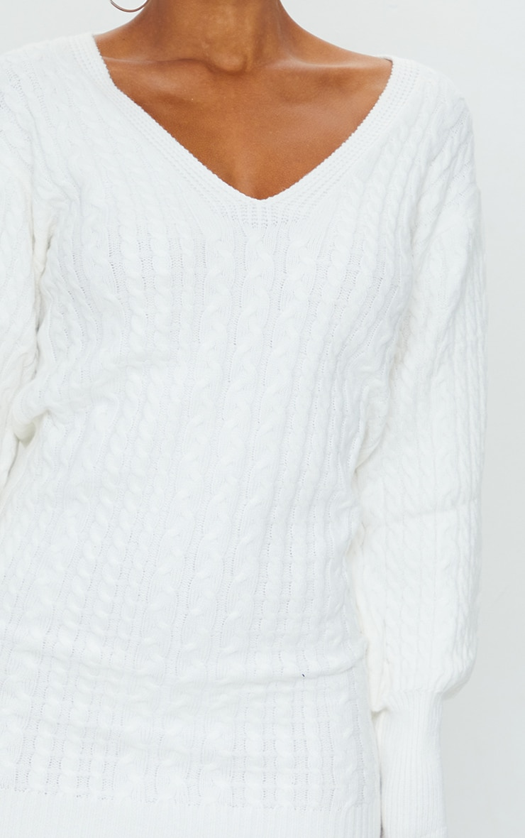 Cream Cable Knit V Front Jumper Dress 4