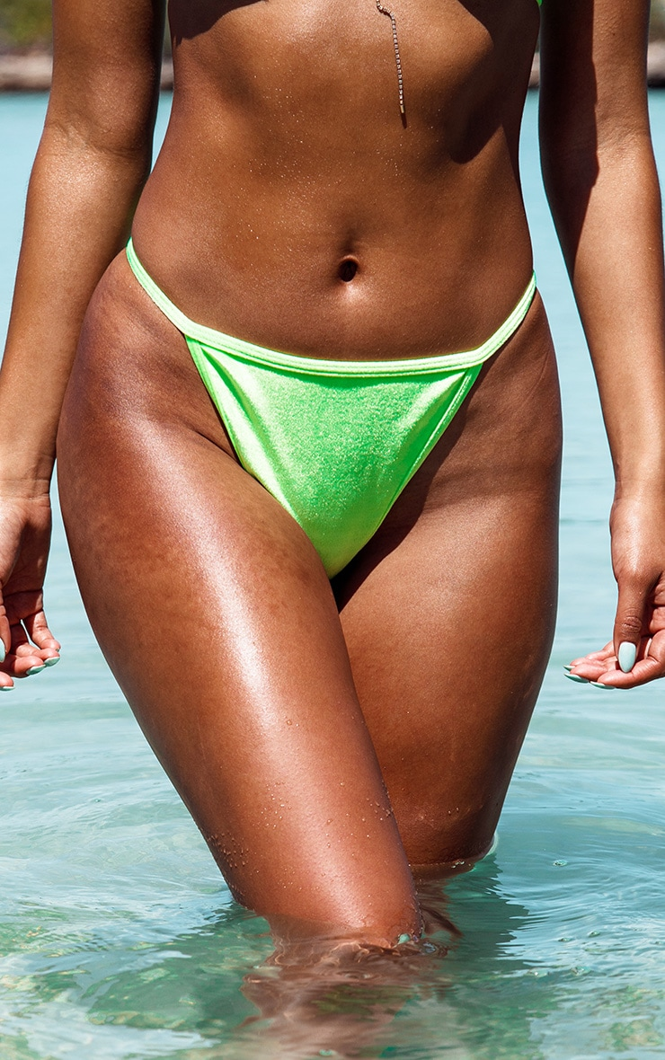 Neon Green Velvet High Leg Bikini Bottom 1