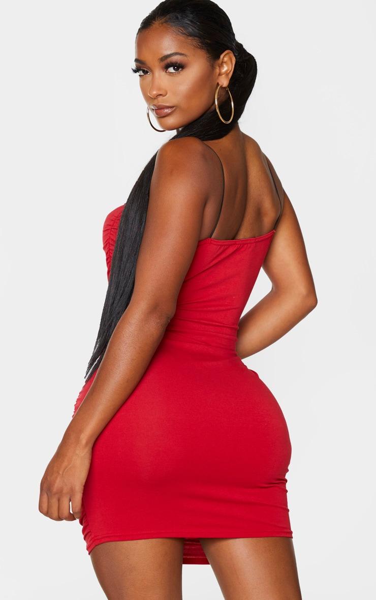 Shape Red Cotton Spaghetti Strap Ruched Bodycon Dress 2