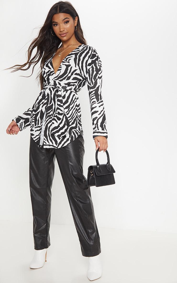 Black/White Zebra Print Tie Waist Blazer  1
