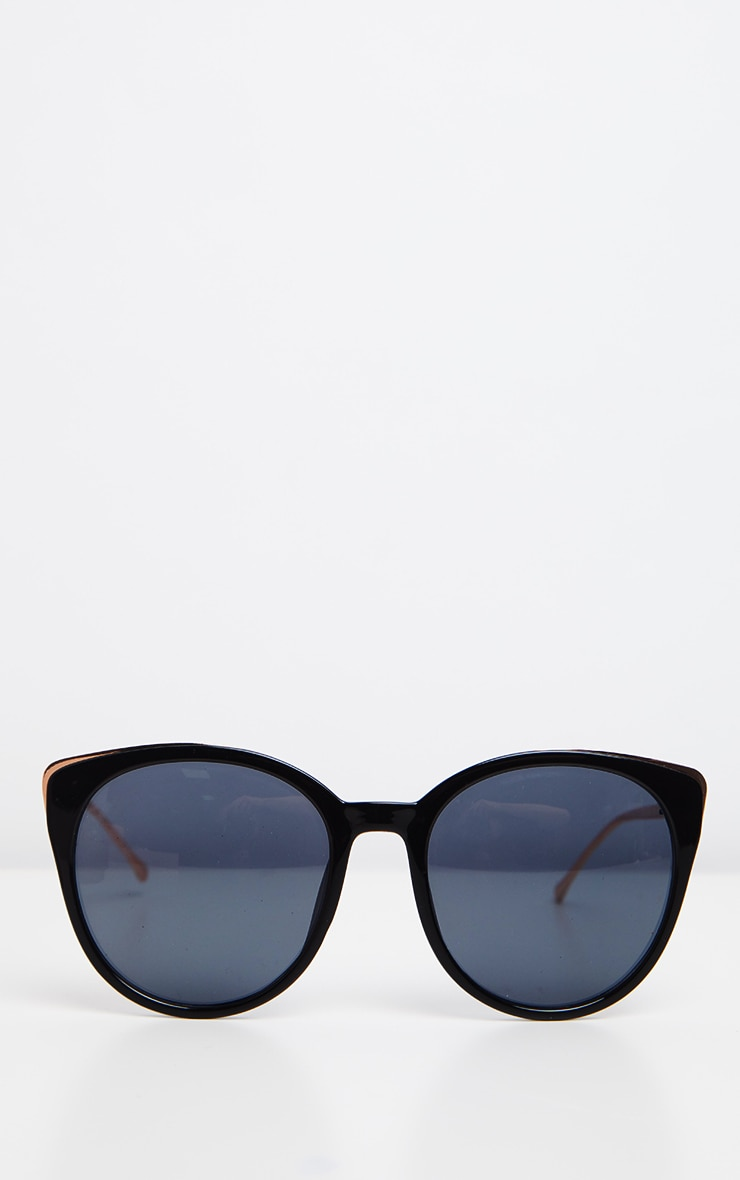 Black Gold Frame Large Cat Eye Sunglasses 2