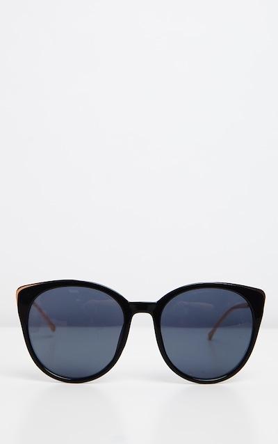 Black Gold Frame Large Cat Eye Sunglasses