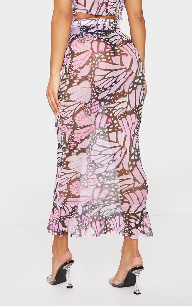 Pink Butterfly Print Mesh Peplum Hem Midaxi Skirt 3