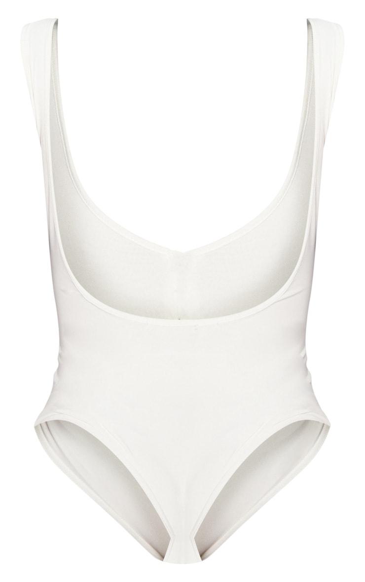 Shape White Slinky Zip Detail Scoop Back Bodysuit 4
