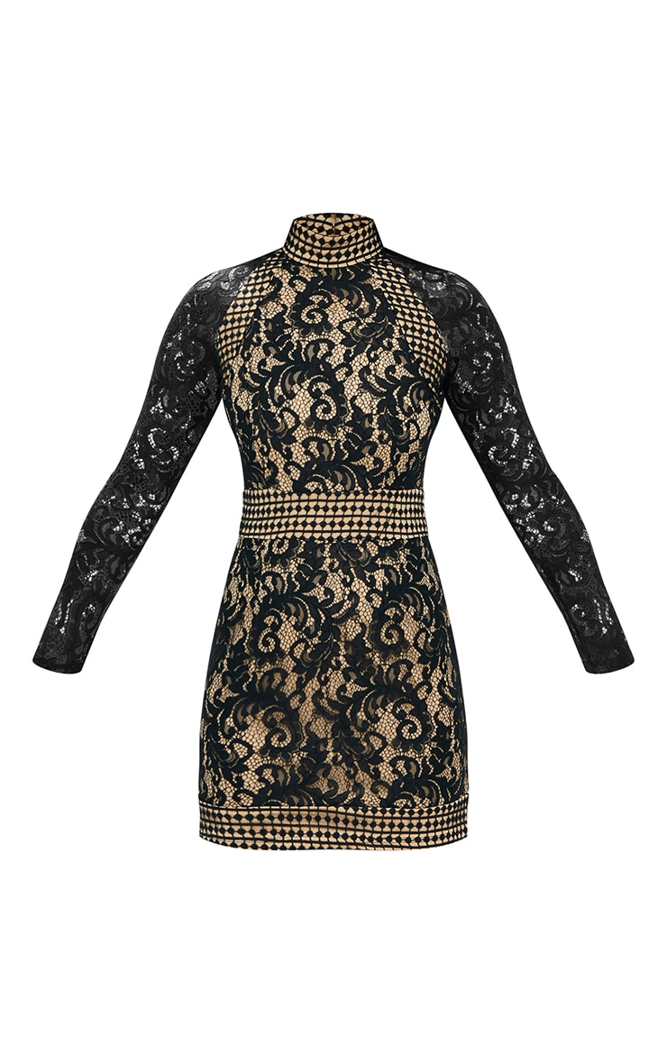 Black Lace High Neck Bodycon Dress 2