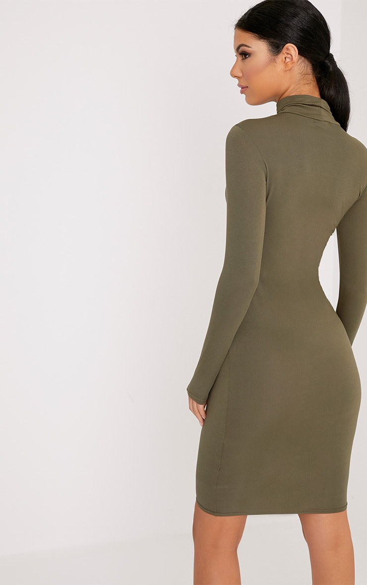 Basic Khaki Jersey Roll Neck Midi Dress 2
