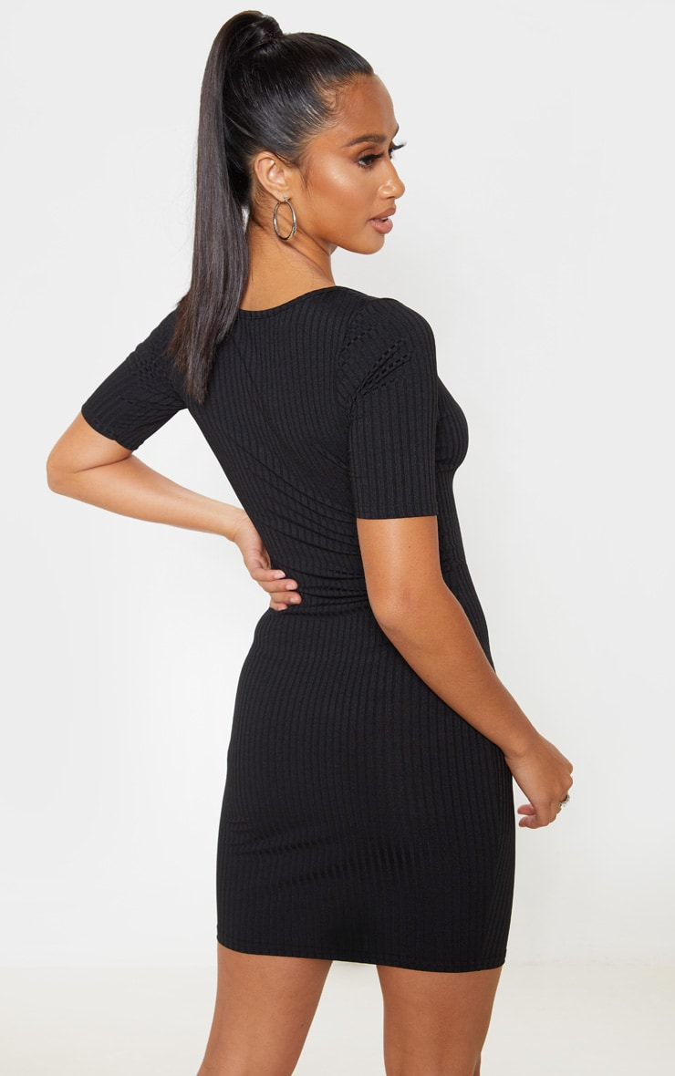 Petite Black Ribbed Scooped T Shirt Mini Dress 2