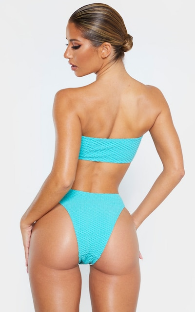 Dusky Turquoise Bubble Textured Bandeau Bikini Top