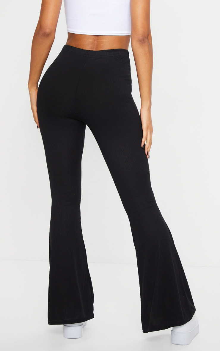 Black Ribbed Flared Trousers 3