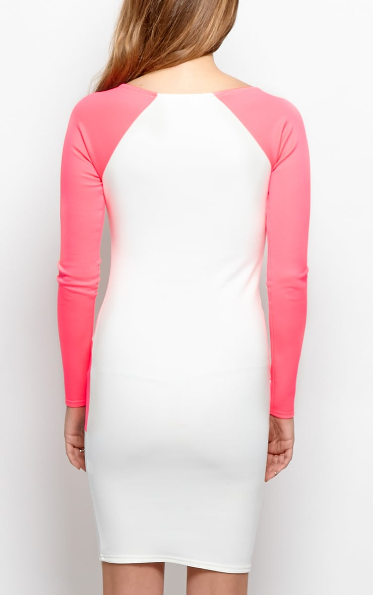Taylor Neon Pink Segment Midi Scuba Dress-12 2
